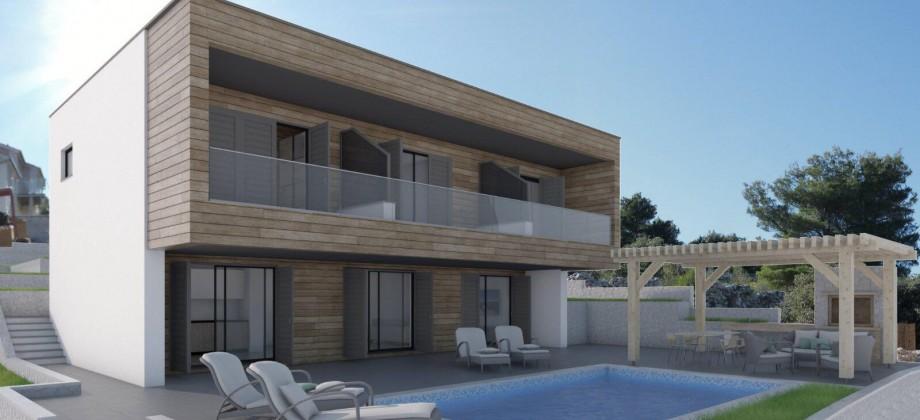 Prodaje se villa u izgradnji treći red od mora sa panoramskim pogledom na more i na Rogoznicu
